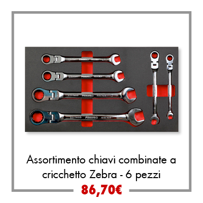 Assortimento chiavi combinate a cricchetto Zebra